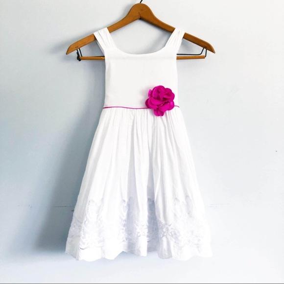 Tahari Girls White Dress w/ Pink Flower Details